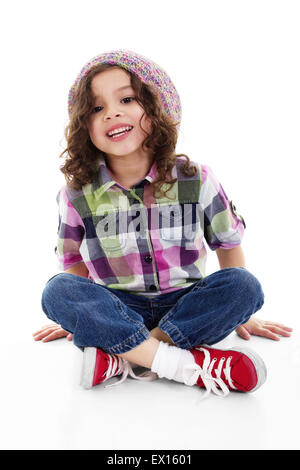 Stock image of happy little girl over white background - Stock Image