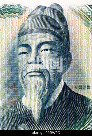 Sejong the Great (1397-1450)  on 100 Won 1965 Banknote from South Korea. Fourth king of Joseon during 1418-1450. - Stock Image