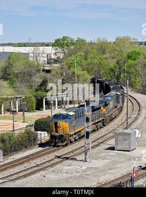 CSX Transportation #3383, an evolution series GE ET44AH diesel electric locomotive, pulling a coal train in Montgomery Alabama, USA. - Stock Image