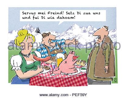 bavarian invite to bavarian meal - Stock Image