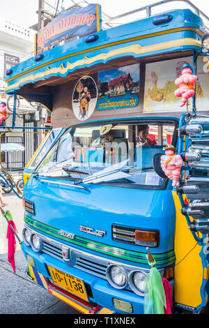 Phuket, Thailand 21st January 2019: Closeup of a traditional Phuket bus. Services run to many parts of the island from the town. - Stock Image