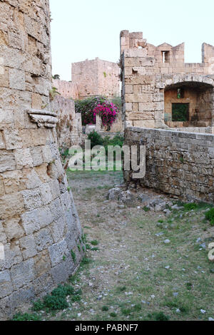 The city walls surrounding the Old City of Rhodes, Greece - Stock Image