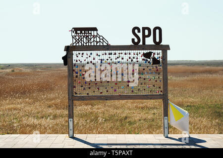 Sankt Peter Ording, Germany - April 20, 2019: Love locks at the beach. SPO is short for St. Peter-Ording. - Stock Image