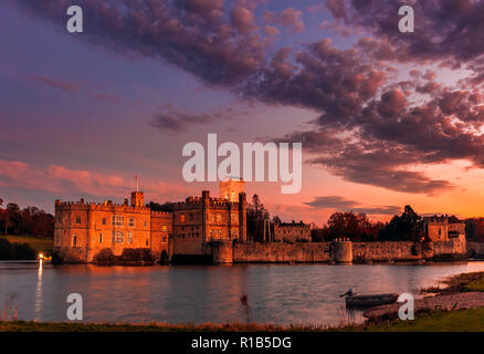 Leeds Castle at Sunset - Stock Image