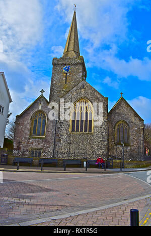 St Mary's Church is a traditional Church in Wales building in the central square of this pretty seaside resort.Tenby, S.Wales - Stock Image