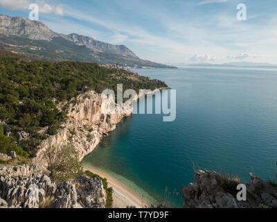 Scenic landscape over famous beach Nugal in Croatia - Stock Image