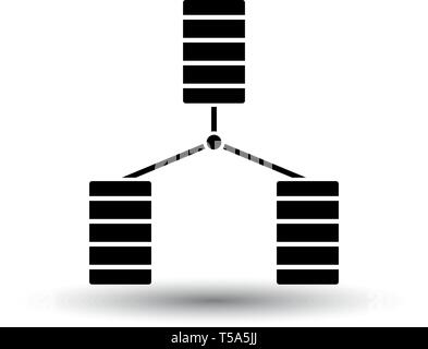 Database Icon. Black on White Background With Shadow. Vector Illustration. - Stock Image