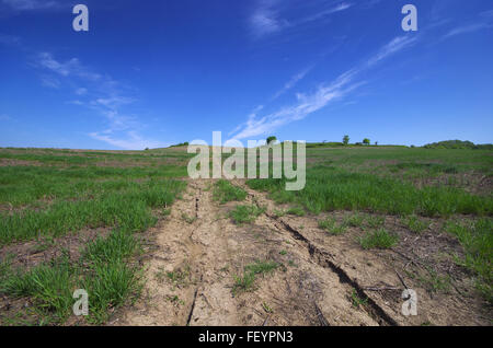 Dirt road through the field. - Stock Image