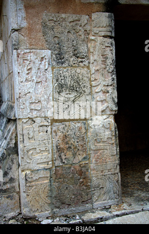 Detail of Carvings on the Entrance to the Great Ballcourt, Juego Pelota, Chichen Itza Yucatan Peninsular Mexico - Stock Image
