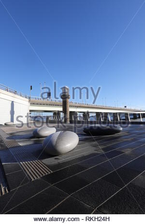 Telford beacon with pebble seating with frost Dundee Scotland  January 2019 - Stock Image