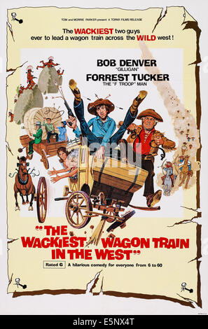 THE WACKIEST WAGON TRAIN IN THE WEST, US poster art, Bob Denver, (center), Forrest Tucker (r.), 1976 - Stock Image