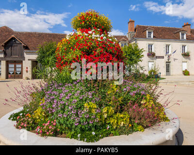 Town square, Mairie and garden, Abilly, Indre-et-Loire, France. - Stock Image