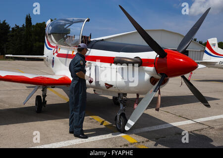 Aviation mechanic propeller training advanced Pilatus PC-9 Red propeller-driven turboprop - Stock Image