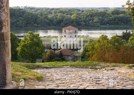 Nebojsa Tower, the only medieval tower remained at the Belgrade fortress Kalemegdan, seen from the fortress. - Stock Image