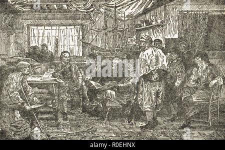 Peter the Great studying shipbuilding among the Dutch, Zaandam, Netherlands, North Holland, 1697 - Stock Image