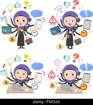 A set of women wearing hijab who perform multitasking in the office.There are things to do smoothly and a pattern that is in a panic.It's vector art s - Stock Image