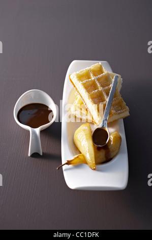 Pears Waffles, Chocolate Sauce - Stock Image