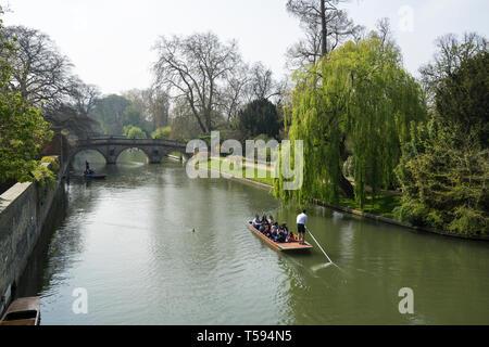 Clare College bridge over river Cam from Hostel Lane Bridge Cambridge 2019 - Stock Image