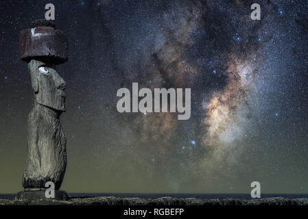 Easter Island Head under the Milky Way - Stock Image