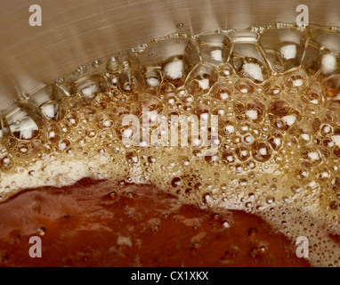 Vermont Maple syrup boiling in a stainless steel pan - Stock Image