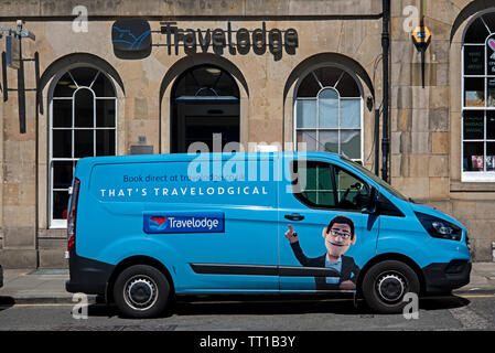 Travelodge van parked outside a Travelodge in Edinburgh, Scotland, UK. - Stock Image