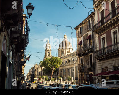 View towards the Cathedral of Saint Agatha (Sant'Agata) in Piazza del Duomo, City of Catania, Sicily, Italy - Stock Image
