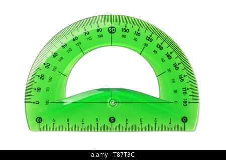 Green plastic protractor isolated on white - Stock Image