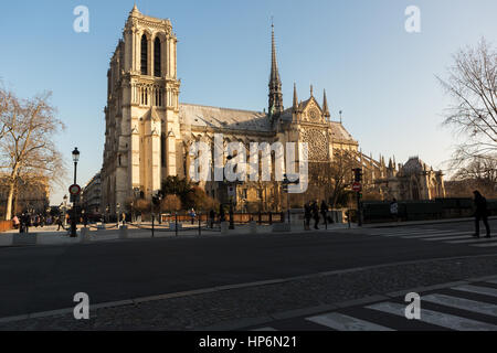 Paris,France - January 19 2017 : Parisian people walk on the streets early morning and the tourists wait in a queue - Stock Image