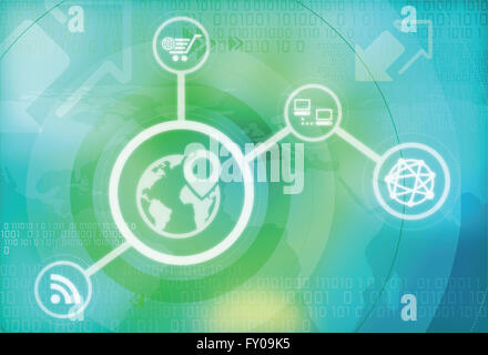 Concept of global positioning system on illustrative image - Stock Image