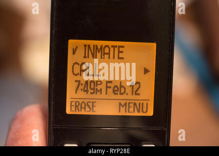 Mystery phone call from an inmate. - Stock Image