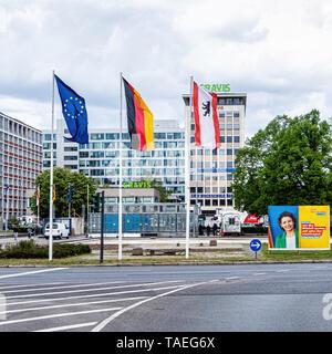 Ernst-Reuter-Platz.Charlottenburg, BerlinThe square is named after Ernst Reuter, mayor of West Berlin from 1948-1953  European,Berlin & German flags - Stock Image