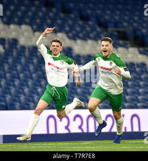 Doug Tuck (left) of Bognor  celebrates after scoring their second goal during the Sussex Senior Challenge Cup Final between Bognor Regis Town and Burgess Hill Town at the Amex Stadium. Credit : Simon Dack - Stock Image