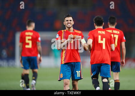 the Stadio Renato Dall'Ara, Bologna, Italy. 22nd June, 2019. Dani Ceballos (ESP), JUNE 22, 2019 - Football/Soccer : Ceballos celebrate after his goal during UEFA European Under-21 Championship 2019 Group stage match between Under-21 Spain 5-0 Under-21 Poland at the Stadio Renato Dall'Ara, Bologna, Italy. Credit: Mutsu Kawamori/AFLO/Alamy Live News - Stock Image