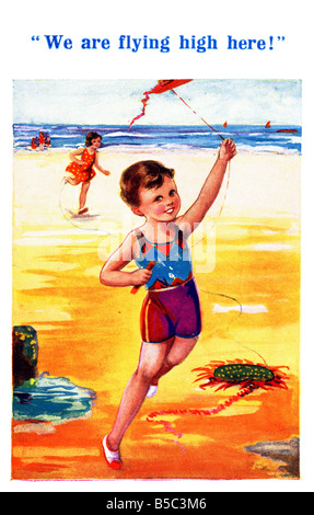 1930s 1936 Art Postcard Seaside from Inter-Art EDITORIAL USE ONLY - Stock Image