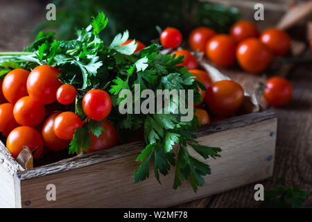Crate of freshly picked organic red cherry  tomatoes, parsley and dill on rustic wooden table, plant based food, close up, selective focus - Stock Image