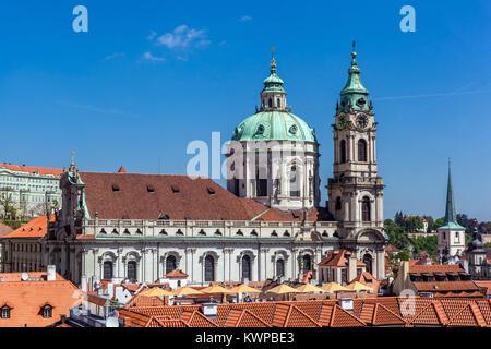 St Nicholas Church, Prague, Mala Strana,  Czech Republic - Stock Image