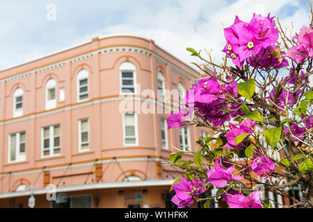 Fort Myers Florida Ft. River District First 1st Street Bradford Hotel 1905 historic preservation restored renovated rounded corn - Stock Image