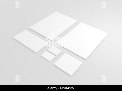Blank Isolated 3D Business Corporate Design Set render - Copyspace - Stock Image