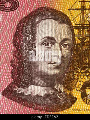 Caroline Chisholm (1808-1877) on 5 Dollars 1967 banknote from Australia. Progressive 19th century English humanitarian. - Stock Image