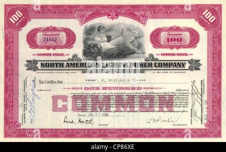 Historic share certificate, North American Light & Power Company, power supplier, Delaware, 1938, USA, Historische - Stock Image