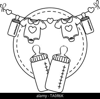 round frame with feeding bottle and baby clothes hanging on a clothesline rope vector illustration graphic design - Stock Image