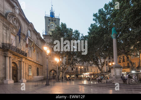 Market Place, Town Hall, Clock Tower,   Aix-en-Provence - Stock Image