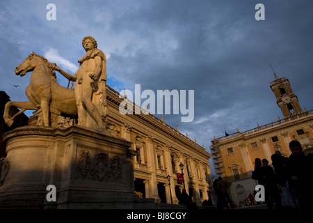 A view of the statue of Castor, left, and the Piazza del Campidoglio square, right, in Rome, March 8, 2008. Photo/Chico - Stock Image