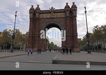 The Arc de Triomf Barcelona Spain Built For The Universal Exhibition In 1888 - Stock Image