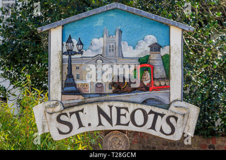 St Neots plaque sign town centre high street Cambridgeshire, England, gb,uk - Stock Image