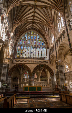 The Great East Window in the Quire at Exeter cathedral, Devon. - Stock Image