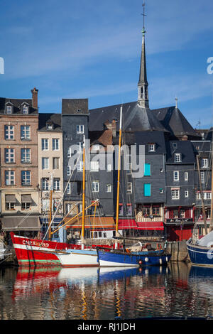 Historic houses by the harbour in Honfleur, France - Stock Image