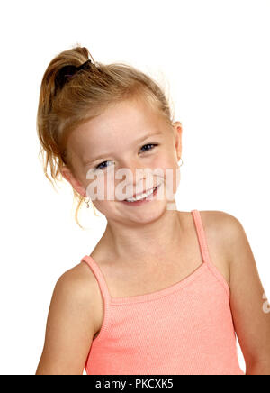 Six year old girl laughing - Stock Image