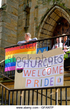 Nottingham, UK. 30th July, 2016. Nottingham Pride parade. St Peter's Church welcomes Pride LGBT (lesbian, gay, - Stock Image