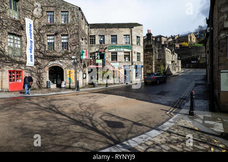 Bridge Gate in Hebden Bridge market town, West Yorkshire in early spring - Stock Image